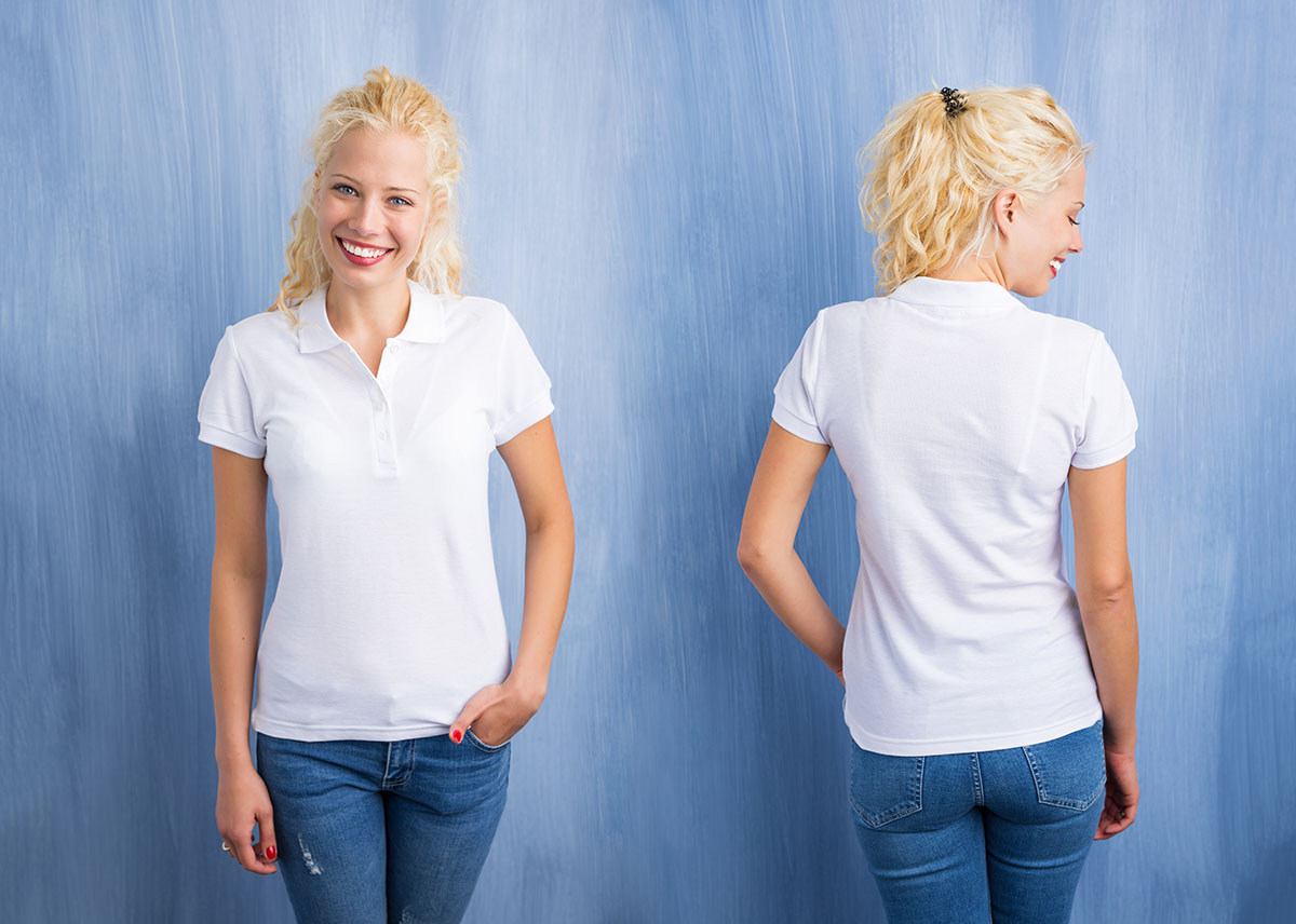 Woman in white polo T-shirt on blue background